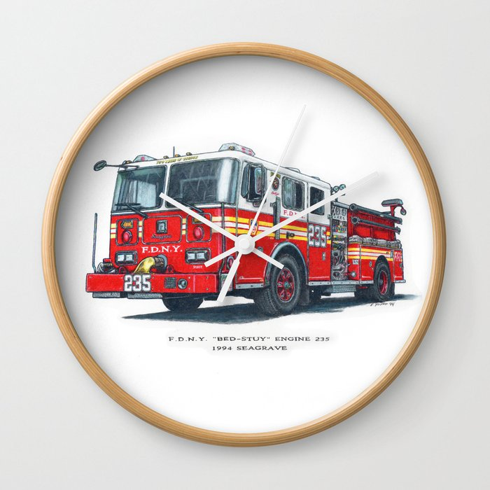 FDNY Bed-Stuy Engine 235 Wall Clock by ernyoung | Society6