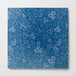 Ampersands - Blue Metal Print