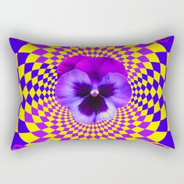 OPTICAL LILAC PURPLE PANSIES YELLOW  GEOMETRIC ART Rectangular Pillow