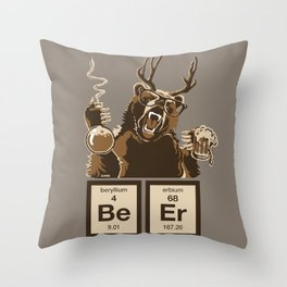 Funny chemistry bear discovered beer Throw Pillow