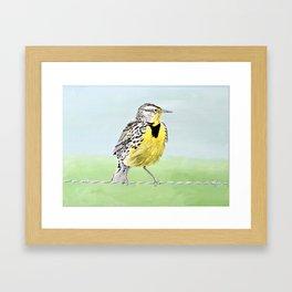 Wyoming Meadowlark Bird Art Framed Art Print