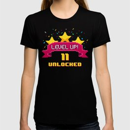 Level Up 11 years old unlocked 8 bit video game  T-shirt