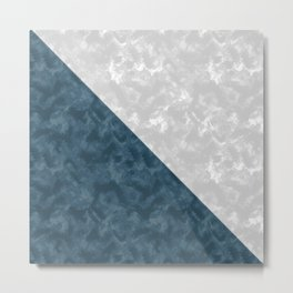 Gray , blue marble Metal Print