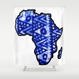 Blue tribal Africa Map Shower Curtain