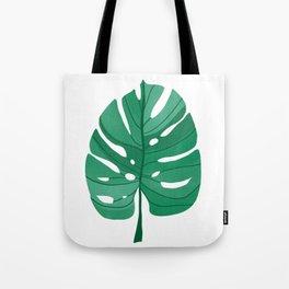 Monstera Leaf Tropical Illustration Tote Bag