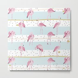 Flamingo pattern on blue stripes background with black confetti Metal Print