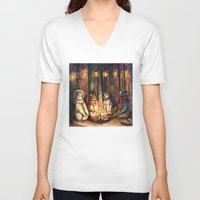 helen V-neck T-shirts featuring Camp Meeting By Helen Green by Bear Picnic