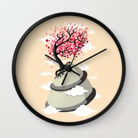 cherry blossom Wall Clocks featuring Cherry Blossom by Freeminds