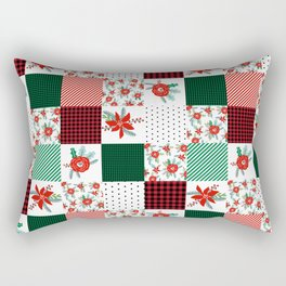 Plaid quilt pattern outdoors nature forest christmas holidays gifts Rectangular Pillow