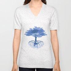 Heart Tree - Blue Unisex V-Neck