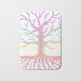 Rainbow Chakra Tree of Life - Real Stitch-able Color Coded Cross Stitch Chart Bath Mat