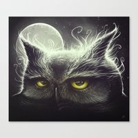 owl Canvas Prints featuring Owl & The Moon by Dctr. Lukas Brezak