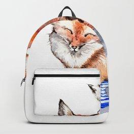 Smiling Red Fox in Blue Socks Backpack