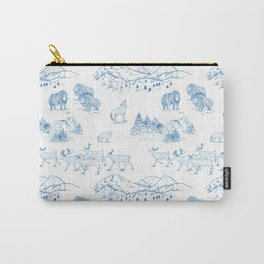Arctic Wildlife Pattern (White and Blue) Carry-All Pouch