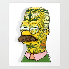 Tatted Up Ned Art Print