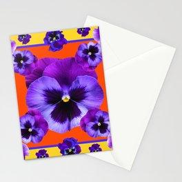 YELLOW-SAFFRON PURPLE PANSIES GARDEN  PATTERN MODERN ART Stationery Cards