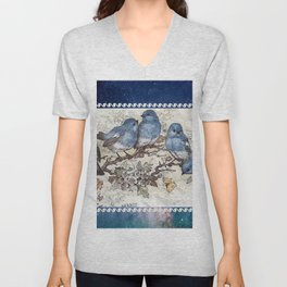 Vintage Blue Birds Unisex V-Neck