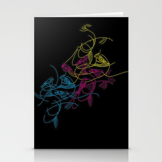 birds doodle in cmyk Stationery Cards
