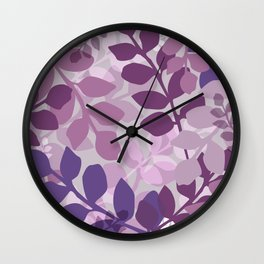 Ultra Violet Purple Lavender Leaves Pattern Wall Clock