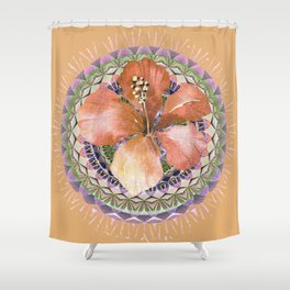Elegant Peach Neutral Hibiscus Floral Mandala Shower Curtain