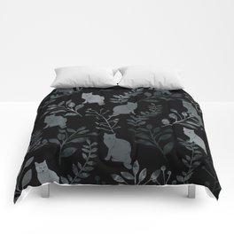 Watercolor Floral and Cat III Comforters