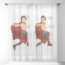 Take It Easy, El Luchador Mascarado Artwork Sheer Curtain