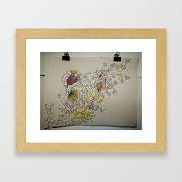 Illustration with Floral Framed Art Print