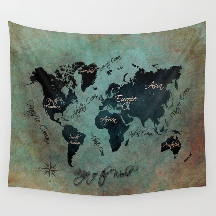 World Map text #world #map Wall Tapestry