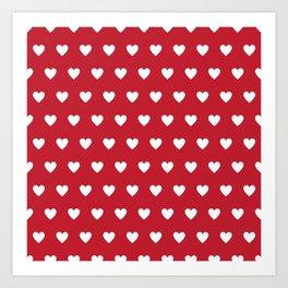 Polka Dot Hearts - red and white Art Print