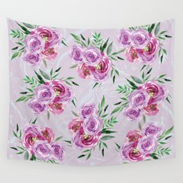 Purple mauve watercolor peonies falling bouquets Wall Tapestry