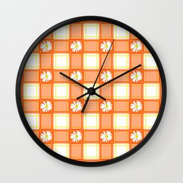 Daisies on Orange Plaid Wall Clock