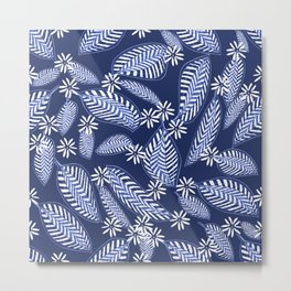 White Tiny Forest Flowers and Leaves on Dark Blue Background #decor #society6 #buyart Metal Print