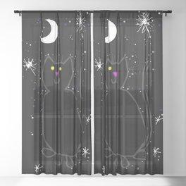 Black Cat Night Sky Sheer Curtain