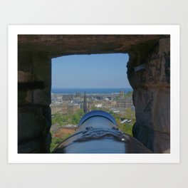 Edinburgh castle city view from Cannon pov (point of view ) Art Print