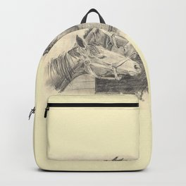 Three horses - pencil sketch Backpack