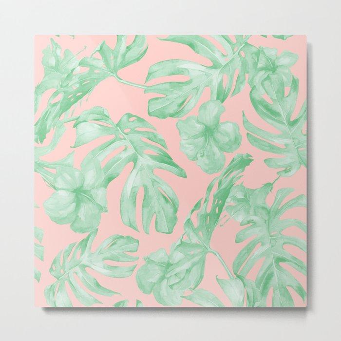 Island Life Seashell Pink + Light Green Metal Print