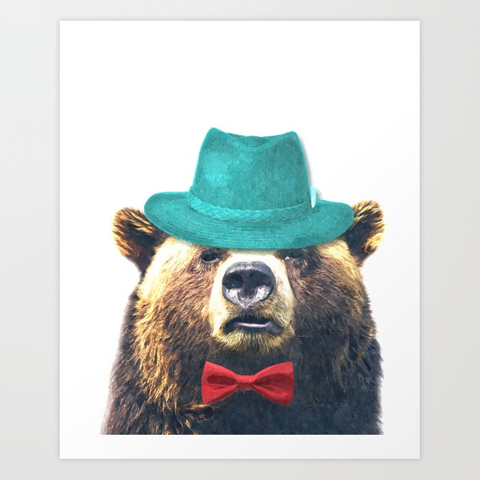Funny Bear Illustration Art Print