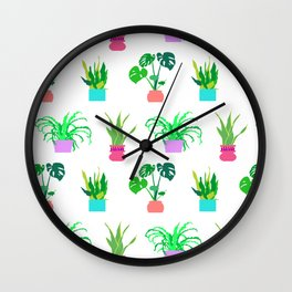 Simple Potted Plants in White Wall Clock