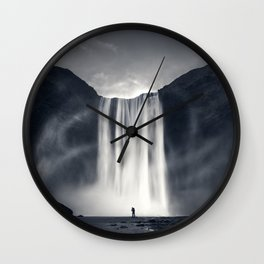 Stormy Skogafoss Wall Clock