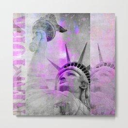 Statue of  Liberty pink mixed media art Metal Print