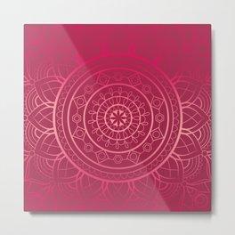 Raspberry Mandala Metal Print