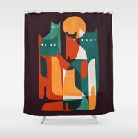 family Shower Curtains featuring Cat Family by Picomodi