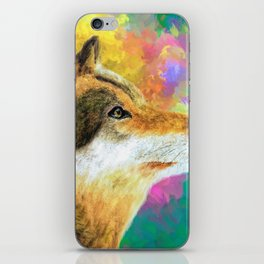 Watercolor Wolf Abstract (Color) iPhone Skin