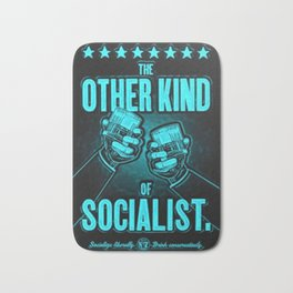 "Vintage ""The Other Kind of Socialist"" Alcoholic Lithograph Advertisement in Blue Bath Mat"