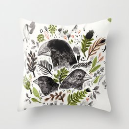 DARWIN FINCHES Throw Pillow
