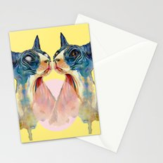 two cats on yellow Stationery Cards