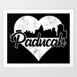 Retro Paducah Kentucky Skyline Heart Distressed Art Print