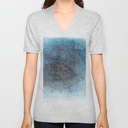 Indigo Blue Soft Blue White Mandala Unisex V-Neck