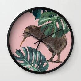 Kiwi Bird with Monstera in Pink Wall Clock