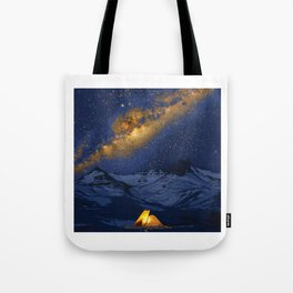 Glowing Tent Under Milky Way Tote Bag